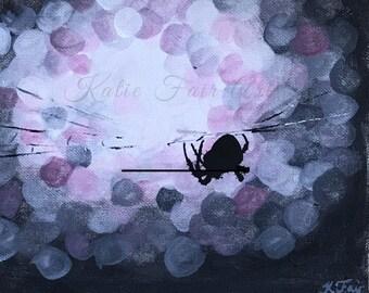 Waiting - original spider oil painting