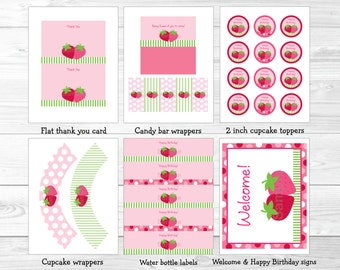 Cute Strawberry Birthday Party Package / Strawberry Birthday Decorations / Strawberry 1st Birthday / 1st Birthday / INSTANT DOWNLOAD A307