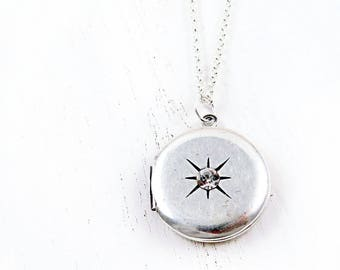 Starburst Locket, Sterling Silver Round Locket, Vintage Locket, Celestial Jewelry, Star Jewelry, Miniature Locket, Anniversary Gift