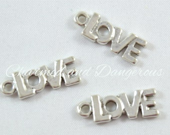 9 pewter Love Text charm (CM88)