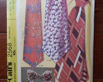 "Mens Necktie Sewing Pattern Three Ties 4"", 5"" Wide & 3.5"" Wide Bow/ Vintage Mccall's 2568/ Tie Neck Size 14"", 15"", 16"", 17"", 17.5""/ Uncut"