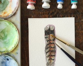 Grouse feather - Original Watercolour feather study