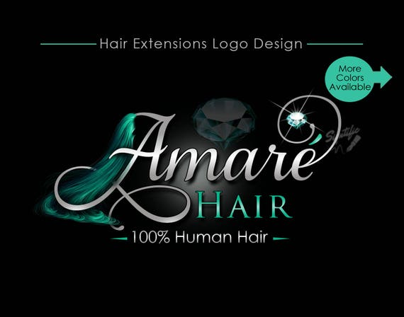 Hair Extensions Logo, Virgin Hair Logo Design, Hair Collection Logo, silver, Teal Diamond Bling, Hair Strands Logo, Hair Business Logo
