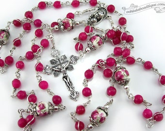 Fuchsia Agate Unbreakable Rosary holy communion gift confirmation rosary catholic rosaries fuchsia rosary ladies rosaries birthstone rosary