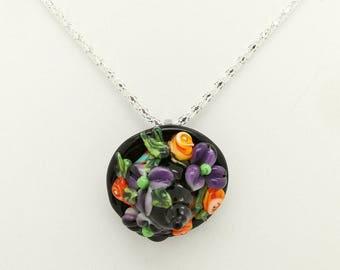 Witch Hat, Floral, Interchangeable Topper Focal Handmade Glass Art