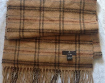 Vintage Tumi Plaid Brown Scarf | 100% Baby Alpaca | Made in Peru | Extremely Rare