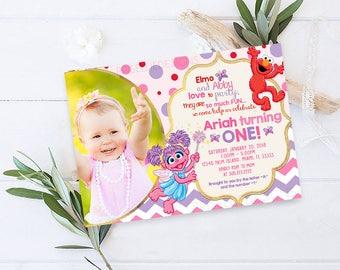 Elmo and Abby Birthday Invitation, Abby Cadabby Birthday Invitation Printable with Photo, Elmo Sesame Street Birthday Invitation