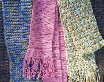 3 Hand knitted scarves