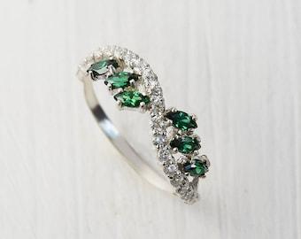 Anniversary ring, Emerald ring, Multistone ring, Gemstone ring, Birthstone ring, Silver emerald ring, Green stone ring, May birthstone
