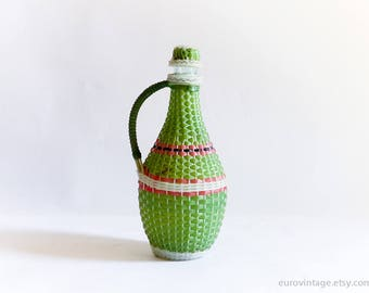 Vintage 60s Plastic Wicker Bottle / Green Red White