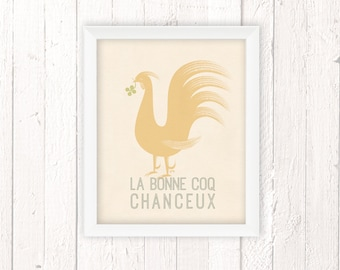 French Country Cottage, Rooster Art Print, Chicken Decor, 11x14