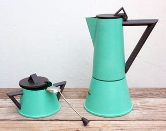 HARD TO FIND - Coffee service Academy Lagostina Made in Italy Vintage Memphis Design Milan's 90 Ettore Sottsass design Set 2 pieces