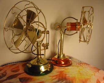 """Custom crafted antique style robotic 6"""" fan"""