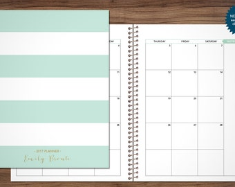 MONTHLY planner 2018 / 12 month calendar / choose your start month / 2018-2019 month at a glance planner MAG / mint green stripes