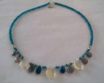 apatite, labradorite necklace, quartz, Silver 925, natural gemstone, blue apatite, apatite, dainty necklace jewelry, women gift, wedding necklace