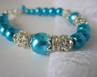 Aqua Bridesmaid Bracelet Aqua Wedding Maid of Honor Turquoise Bridesmaid Bridal Gift