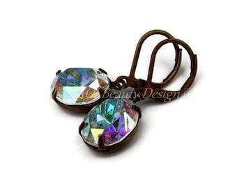 Swarovski Crystal AB Aurora Borealis Earrings