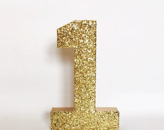 Gold, Silver Glitter Paper Mache Stand Up Number -Birthday Party -Wedding Table Number -Party Decor -Photo Prop -Winter ONEderland -Wild ONE