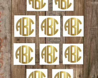 """Gold Vinyl Monogram Decal Set, 4,6,8,10–.5"""",.75"""",1""""-1/2"""",3/4""""-Small/Mini Decal–Yeti Decal–Laptop Decal-Personalized-60+Additional Colors"""