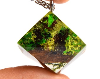 Terrarium Jewelry Moss Resin Necklace Real Moss Necklace for Woman Jewelry Handmade Resin Jewelry Wood Resin Necklace Best gift for mom