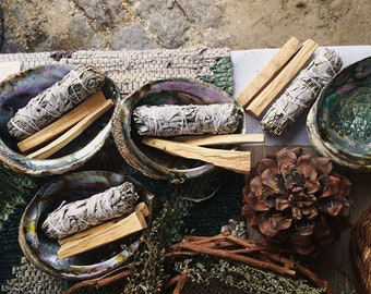 Smudge Kit - For Ceremony, Cleansing - With Palo Santo, Sage Smudge, Abalone Shell