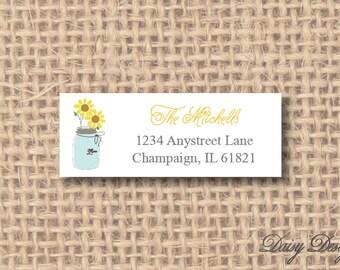 Return Address Labels - Sunflowers in a Mason Jar - 120 self-sticking labels