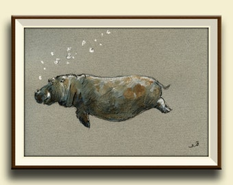 PRINT-Hippo- hippo swimming print of watercolor painting- africa safari decor- Art Print by Juan Bosco