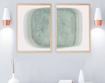 Set of 2 Prints, PRINTABLE Art Print Set, Wall Art Set, 2 Abstract Prints, Sage Green Wall Art, Green Prints, Green Wall Art, Watercolor Art