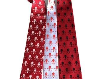 Hockey necktie. Hockey stick, puck & mask print. Hockey player gift. Skull and bones motif. Choose red, black, or custom team colors!