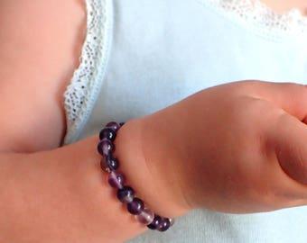 Baby Fluorite bracelet, Beaded bracelet baby gemstone. Fluorite bracelet, calming bracelet baby, healing bracelet baby Baby gemstone jewelry