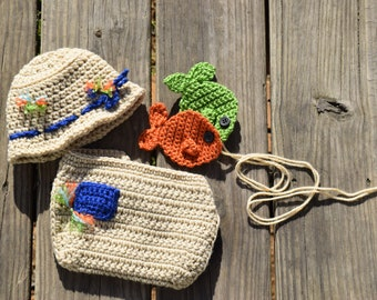 Crochet Fisherman Hat, Diaper Cover and Fish, Baby Fishing Hat, Newborn Photo Prop, Fisherman Photo Prop