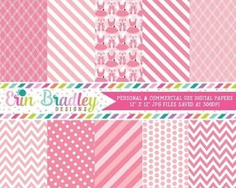 80% OFF SALE Pink Ballerina Tutus Digital Paper Pack Polka Dots Stripes Chevron Instant Download