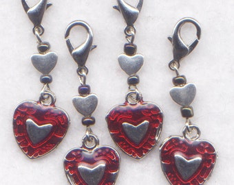 Red Heart Stitch Marker Clips Crochet Markers Love My ValentineSet of 4/SM238