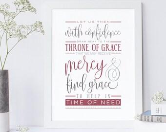 Hebrews 4:16, Bible Verse Print, Grace Print, Scripture Wall Art, Typographic Print, Typography, Wall Quote, Art Print, Christian Art