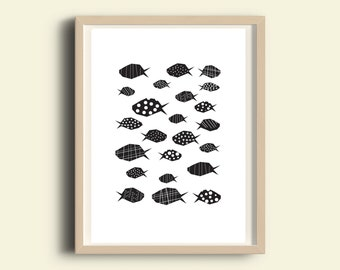 Fish print, printable fish, black and white nautical decor, nautical prints, illustration print, wall art kids room decor, instant download