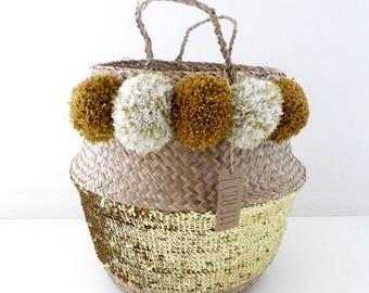 Golden basket Thai 45cm tassel, mustard, cream and gold sequins