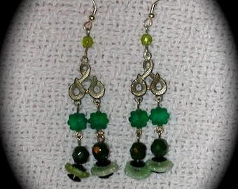 Dangle Earrings in Greens Vintage Silvertone Findings