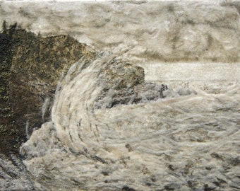 Sea and Cliffs original 12x16 with 3/4 cradle sand painting W Quoddy Head Maine stormy seascape sand art beach rustic art work 12 x 16