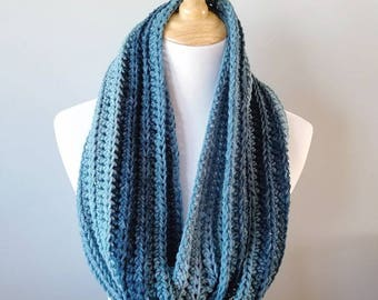 Crochet Infinity Scarf - Cowl - Shades of Blue - Winter - Hygge