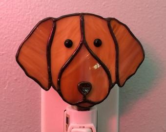 Glasmalerei Golden Retriever Hund Nachtlicht