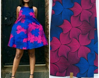 Blue & Pink African Fabric; Ankara Fabric; African Clothing; African Fabric in yard; African Headwrap;Fabric by the yard; Blue Fabric