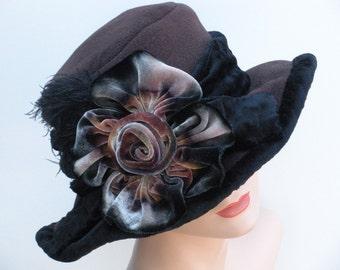 Opera Hat - Brown Fleece - Silk Velvet Flower