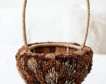 Vintage Textural Basket with Handle