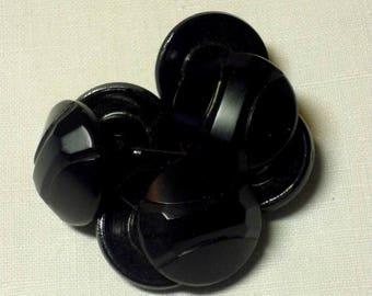 Set of 7 buttons 23mm antique black glass