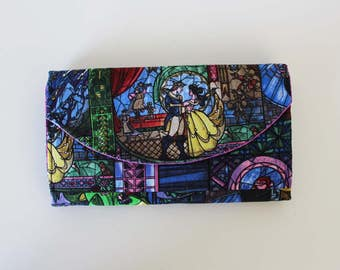Disney Beauty and the Beast Quilted Accordion Style Clutch Wallet with 10 card slots and zipper pockets