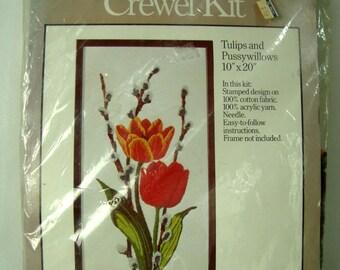 Tulips Pussywillows Crewel Kit Unopened 1977 Caron NIP