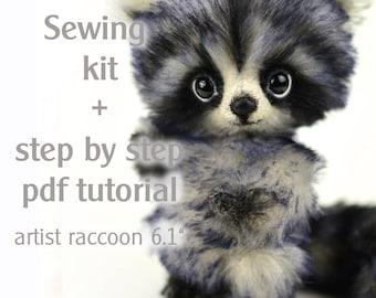Sewing kit artist teddy raccoon Dani, step by step pdf tutorial, handcraft kit, craft set raccoon, patterns & how to, teddy bear making kit