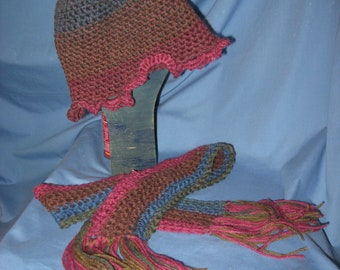 Child summer hat and scarf handmade NEW USA crochet/knit