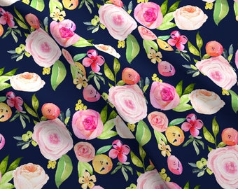 Navy Watercolor Floral Fabric - Watercolor Peonies + Poppies // Navy By Theartwerks - Navy Floral Cotton Fabric By The Yard With Spoonflower