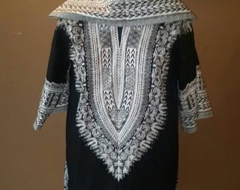 Black and White dashiki hoodie